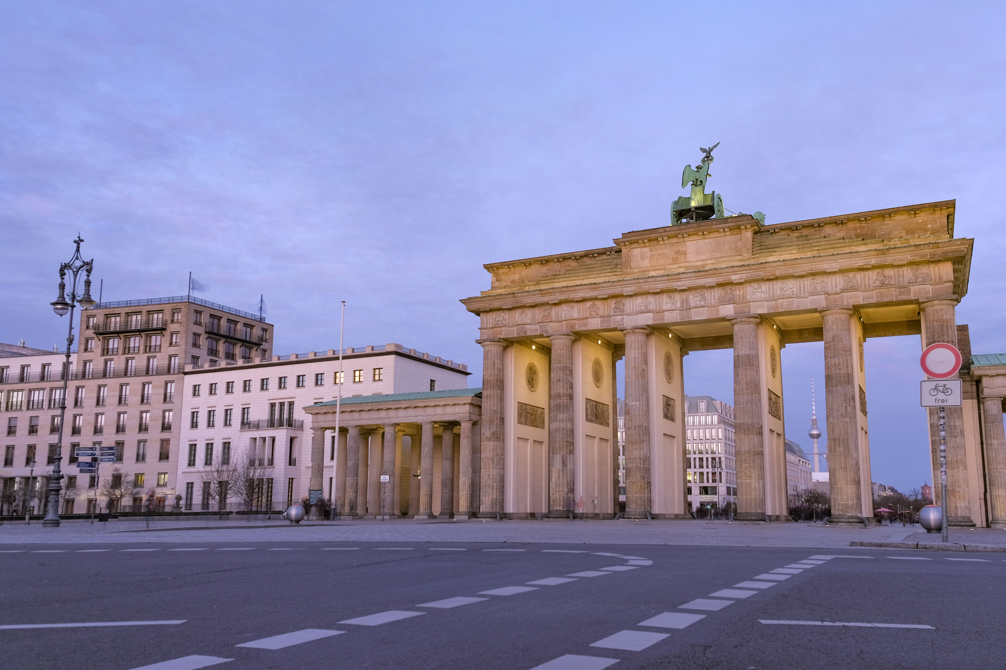 Deserted Berlin - Rush hour at the Brandenburg Gate with no people or cars